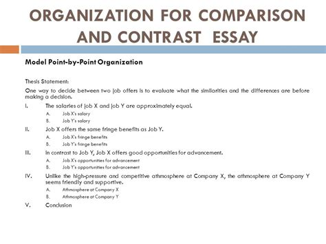Similarities And Differences Essay by Comparison And Contrast Essay Ppt
