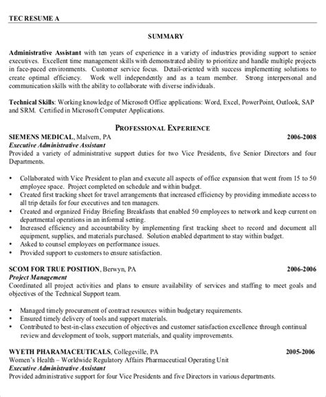 executive assistant resume word template 10 executive administrative assistant resume templates free sle exle format