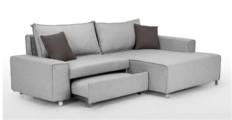Mayne Right Hand Facing Corner Sofa Bed Clear Grey Stone Grey Sofa Bed