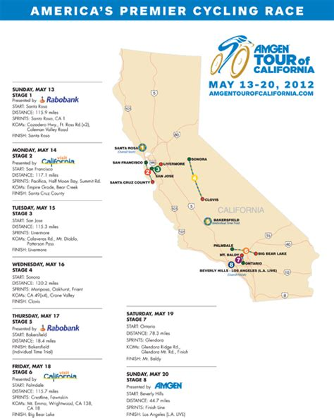 tour of california map 2012 amgen tour of california course route and map
