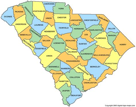 carolina counties map south carolina county map sc counties map of south carolina