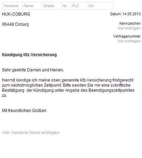 Kfz Versicherung Wechseln K Ndigungsschreiben by Online Bei Huk Coburg Kfz Versicherung K 252 Ndigen