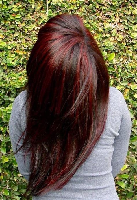 hair highlights for the spring with dark hair love this color dark brown hair with dark red highlights