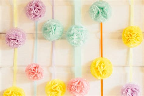 DIY pastel pompom party backdrop by Hip Hip Hooray
