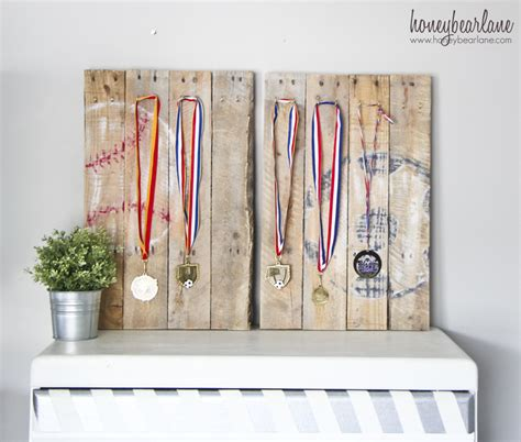 Small Room Decor Pallet Sports Medal Display Honeybear Lane