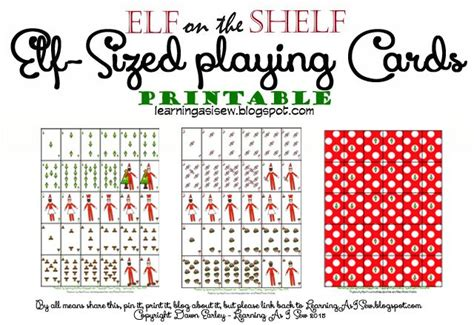 printable small deck of cards elf on the shelf full deck of printable elf sized playing