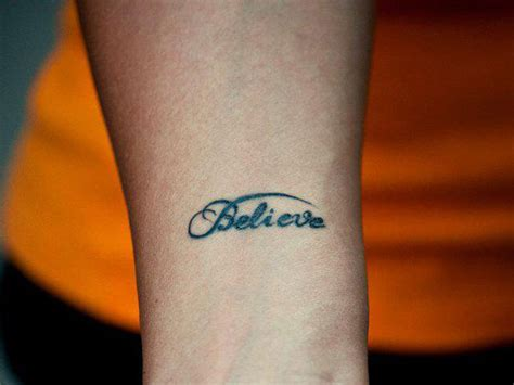 believe tattoo on hand believe quotes tattoos quotesgram