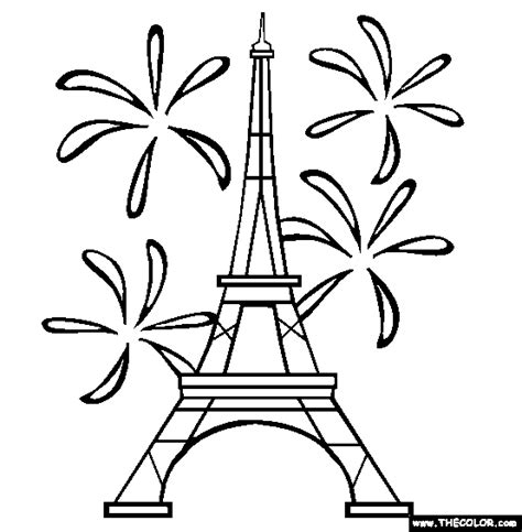 eiffel tower coloring page free online sketch template