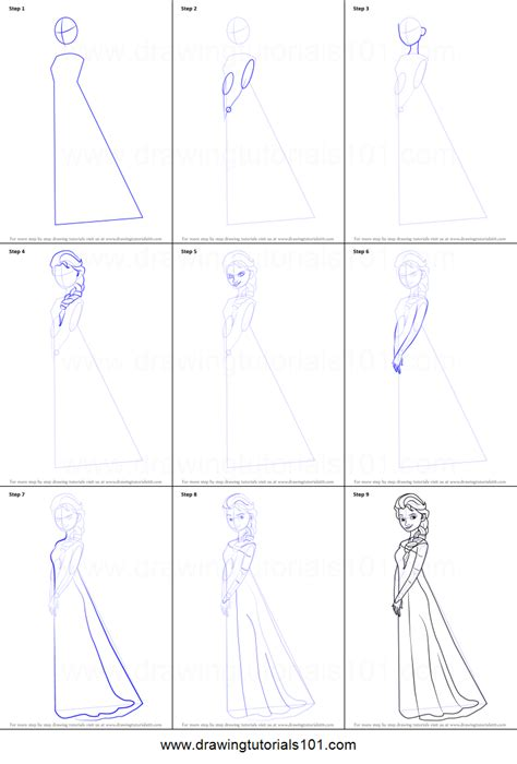 How To Draw Elsa Easy Steps