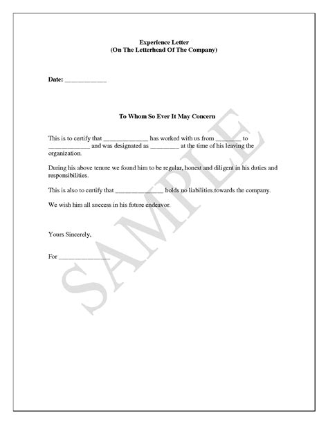Employment Experience Letter Format how to write work experience certificate format compudocs us