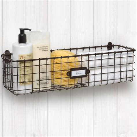 wall mounted wire basket vintage in wire baskets