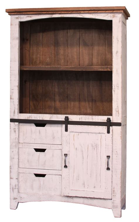 rustic bookcase with doors rustic white bookcase white wash bookcase barn door bookcase