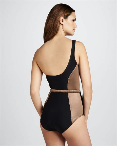 color block swimsuit one lyst camilla marc oneshoulder colorblock onepiece