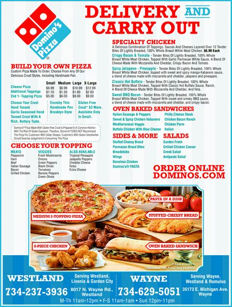 domino pizza delivery number domino s pizza wayne mi 48184 yellowbook