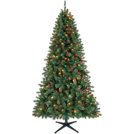 walmart christmas trees pre lit time pre lit 7 duncan tree green multi colored lights walmart