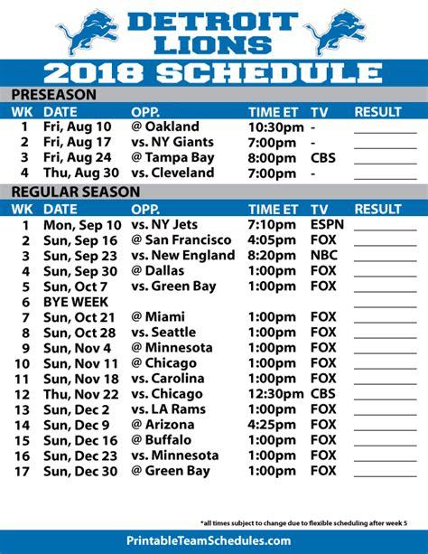 printable lions schedule 2018 printable detroit lions schedule