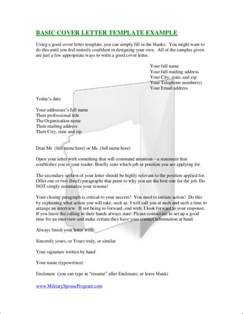 Essential Elements Of A Cover Letter Sle Templates Basic Cover Letter Template