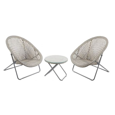 grey buff faux rattan garden chair table set