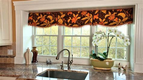Brown Valance For Windows Ideas Window Valances With Grey Countertop Design And Brown Wooden Cabinet For Modern Kitchen Ideas
