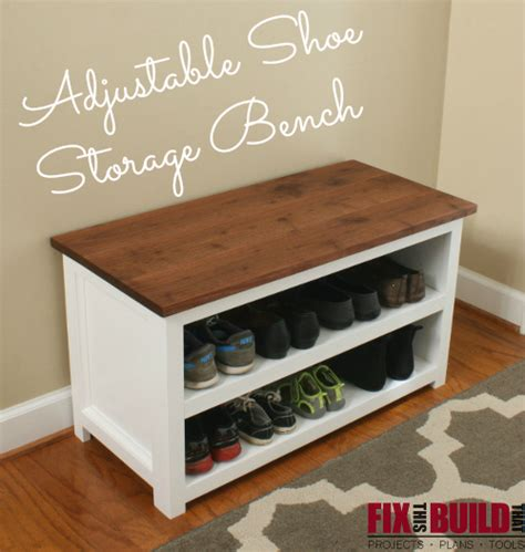 shoe storage with bench white adjustable shoe storage bench diy projects