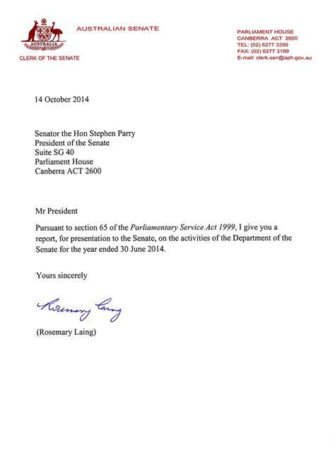 Transmittal Letter For Employment letter of transmittal parliament of australia