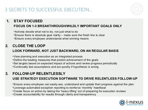 3 secrets of successful strategy execution