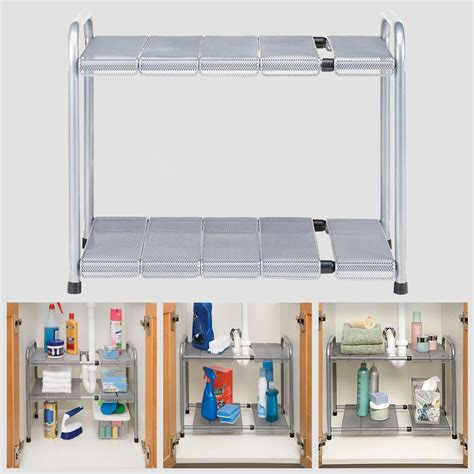 2tier the sink shelf adjustable expandable cabinet