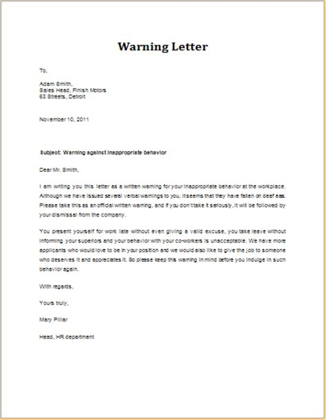 Patient Warning Letter For Behavior Warning Letter For Inappropriate Behavior Word Excel Templates