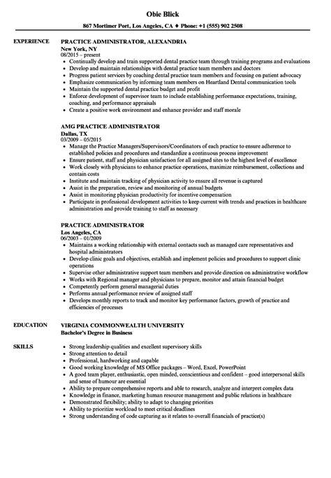 Practice Resume by Practice Administrator Resume Sles Velvet