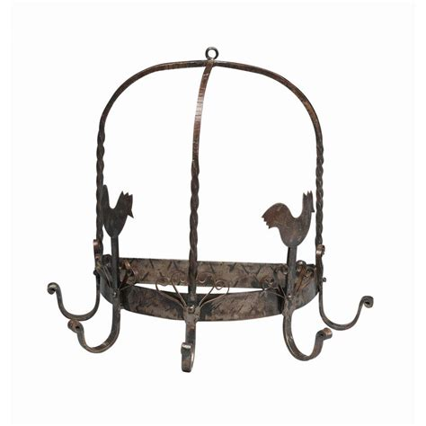 antique reproductions 14 in two chickens kitchen pot rack