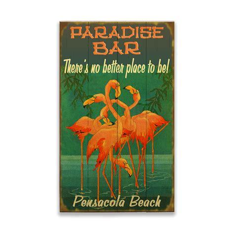 flamingos paradise bar sign  wood signs