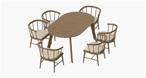 Patio Table 6 Chairs 3d Model Patio Table 6 Chairs