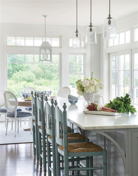 Gray Kitchen Island With Gray Counter Stools Design Ideas Cottage Kitchen Lighting