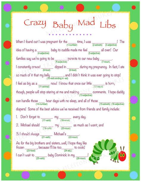baby shower mad libs template personalized baby mad libs for digital