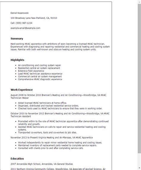 resume exles for experienced professionals hvac cover professional hvac apprentice templates to showcase your talent myperfectresume