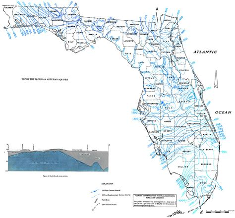 florida aquifer map top of the floridian artesian aquifer 1973