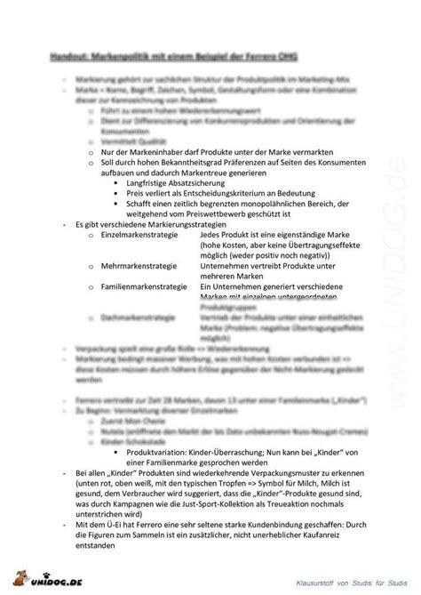 Handout Schreiben Muster Unidog Abstract Markenpolitik Mit Einem Beispiel Der Ferrero Ohg