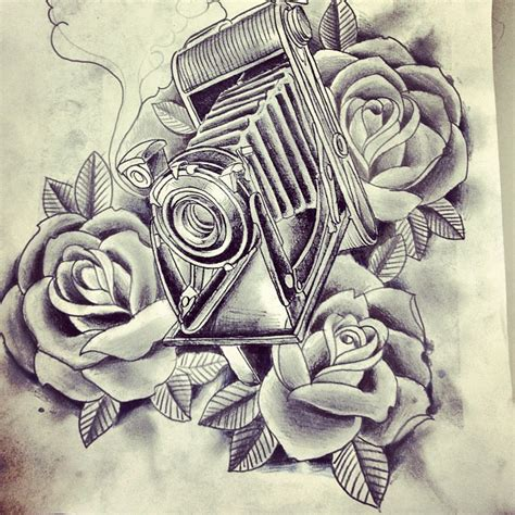 roses and vintage camera tattoo flash tattooshunt com