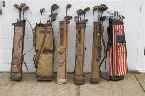 items similar to retro golf old time golf 3 print vintage golf clubs with bags for sale at 1stdibs