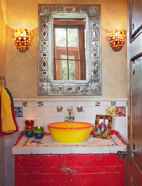 decorative colorful mexican style simple country bathroom