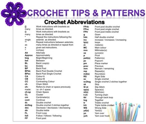 knitting terms crochet abbreviations knit crochet stuff