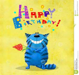 birthday card blue cat with flower stock illustration