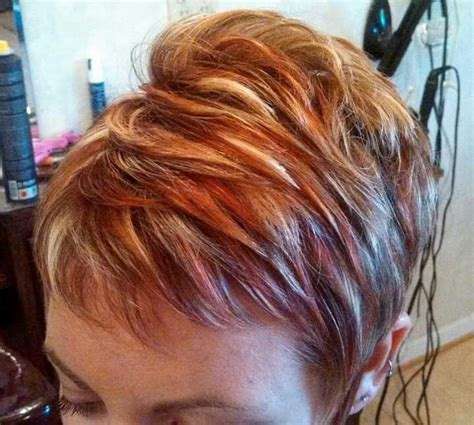 high lights and low lights for womans hair womens short hair cut with red and blond highlights