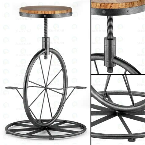 adjustable bar stool on wheels 3d model charles bicycle wheel adjustable bar stool