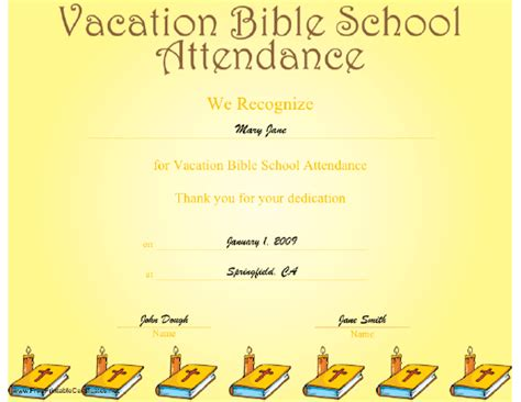 vacation bible school certificate templates free printable vbs certificates search engine at