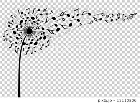 music dandelion flower vector stock illustration