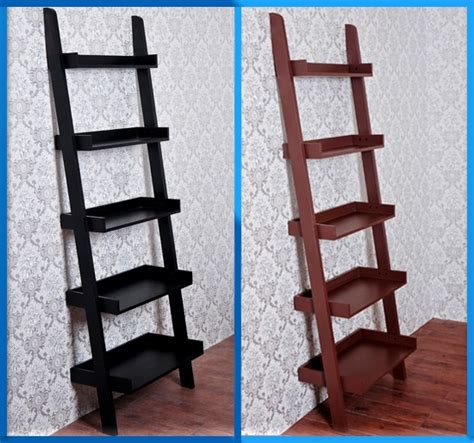 5 Tier Wood Bookcase Leaning Ladder Book Shelf Wooden Wood Ladder Bookcase