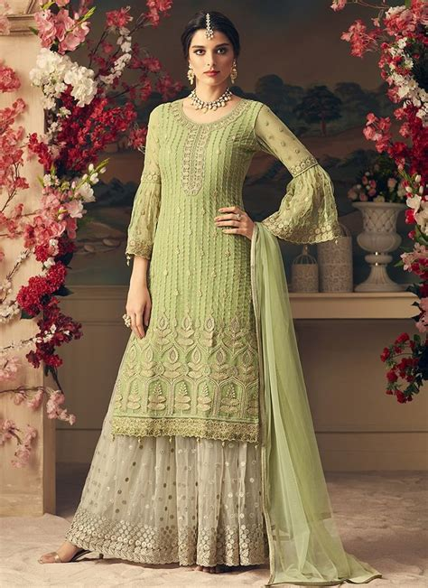 light green   white embroidered sharara suit