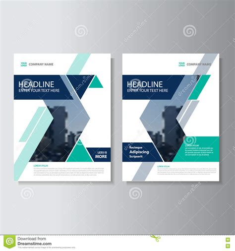 vector layout book blue green triangle geometric vector annual report leaflet