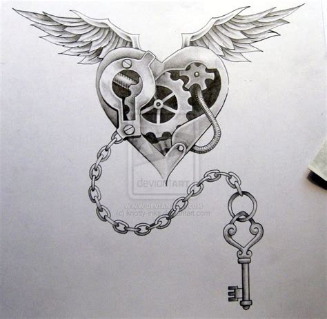 mechanical heart tattoo designs black and grey mechanical with wings design
